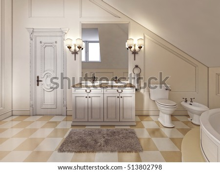 Beautiful and bright bathroom in Provence style with beige furniture and a large corner bath. Tile floor with a checkerboard pattern. 3D render.