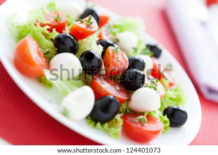 Beautiful and bright salad for good health, close up