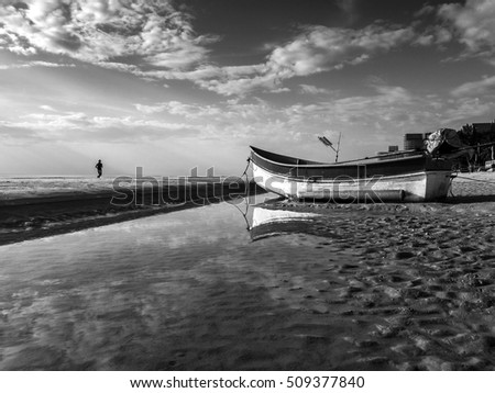 Beautiful and calm of reflection sea in black and white tone, Huahin, Thailand