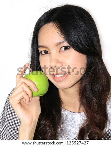 beautiful and charming Asian woman show green apple for vitamins and healthy diet food and fruit isolated on white background,