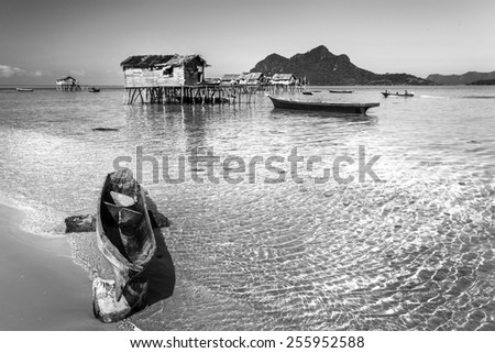 beautiful and clean beaches with clear water at Maiga Island, Sabah, Malaysia - stock photo