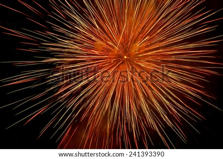 Beautiful and colorful fireworks and sparkles for celebrating new year 2016, 2017, 2018 or other event - stock photo