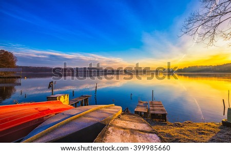 Beautiful and colorful lake landscape. Lake in Mazury lake district in Poland. - stock photo