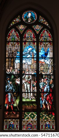 beautiful and colorful stained glass window with lots of details (Riga cathedral, Latvia, Europe) - stock photo