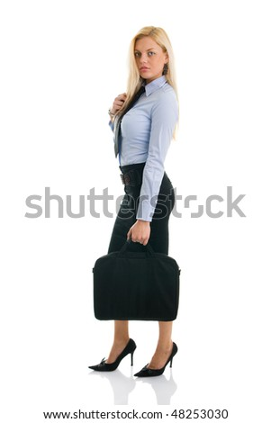 Beautiful and confident businesswomen with briefcase. Isolated on white - stock photo