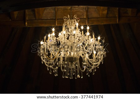 Beautiful and dear modern chandelier - stock photo