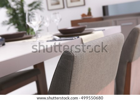 beautiful and decorative, modern dining room table and detail
