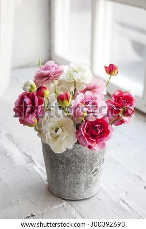 Beautiful Delicate Bouquet Buttercups Zinc Vase Stock Photo ...