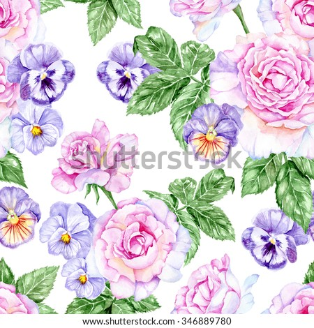 Beautiful and delicate pattern with pink roses and flowers of violets. Watercolor seamless background - stock photo