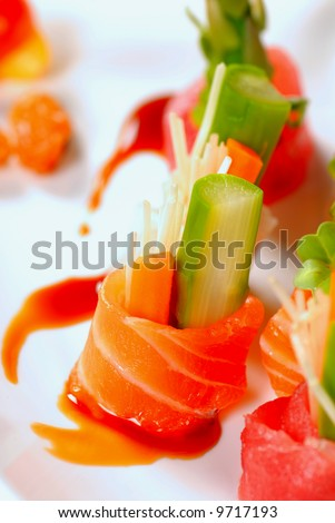 Beautiful and delicious pieces of japanese sashimi - stock photo