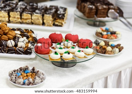 beautiful and delicious sweet table for a wedding celebration