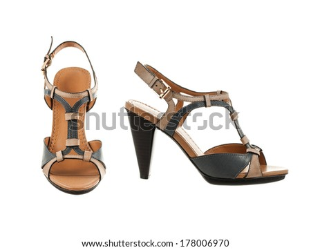 Beautiful and elegant female shoes on a white background.