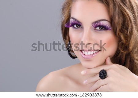 beautiful and elegant woman, colorful make up
