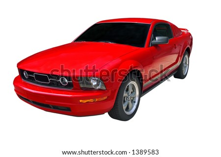 Beautiful and expensive red sports car isolated on a white background. Look in my gallery for more car photos like this.