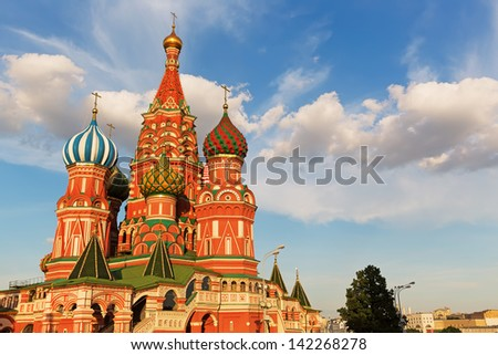 Beautiful and Famous St. Basil's Cathedral on Red square, Moscow, Russia - stock photo
