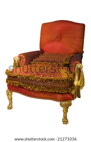 Beautiful and fashionable armchair on a white background