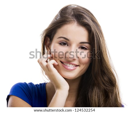 Beautiful and happy young woman isolated over a white background - stock photo
