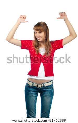 Beautiful and  happy young woman pointing at herself with both hands. Smiling and looking into the camera. Isolated on white background