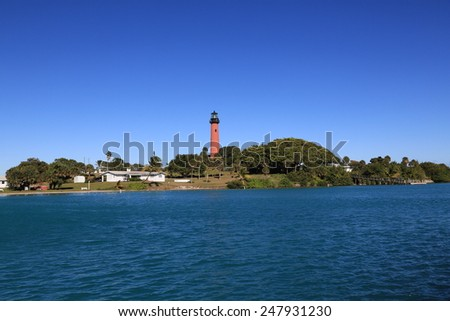 Beautiful and historic Jupiter Lighthouse in Tequesta, Florida - stock photo