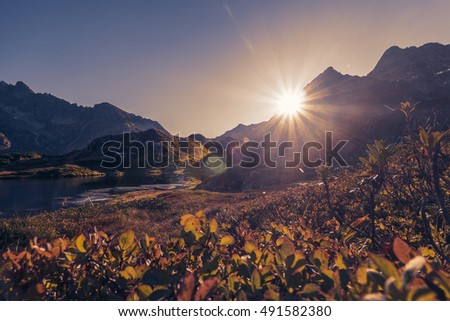 Beautiful and idyllic swiss  mountainscape in the morning light - Autumn mountainscape from switzerland
