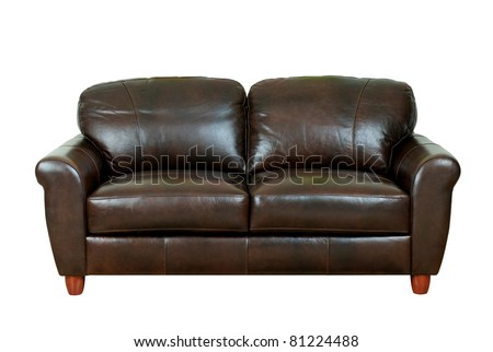Beautiful and luxury of the dark brown leather sofa - stock photo