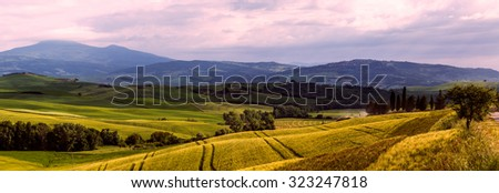 Beautiful and miraculous colors of green spring panorama landscape of Tuscany. Italy