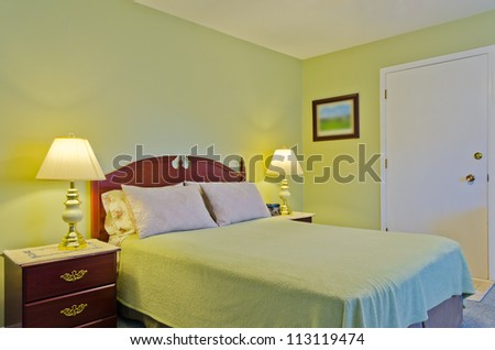 Beautiful and modern home and hotel bedroom interior design. - stock photo