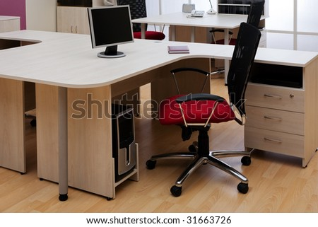 Beautiful and new red chair at modern office