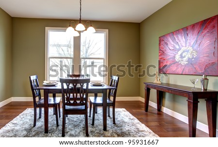 Beautiful And Nice Dining Room With Green Walls Red Painting