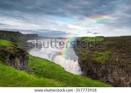Beautiful and powerful Gullfoss waterfalls in Iceland - stock photo