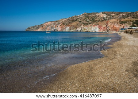 Beautiful and rare natural colors of Palepchori beach, Milos, Greece