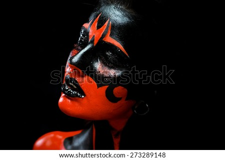 Beautiful and scary devil - stock photo