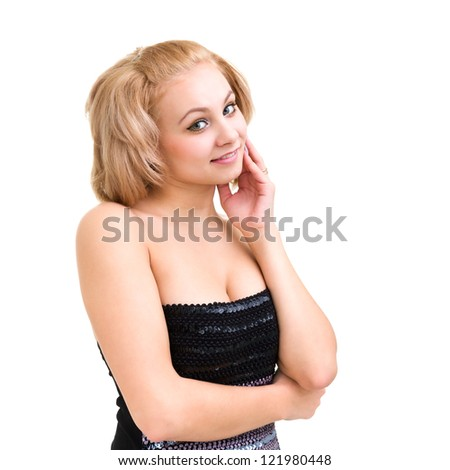 Beautiful and sexy woman posing against isolated white background. - stock photo