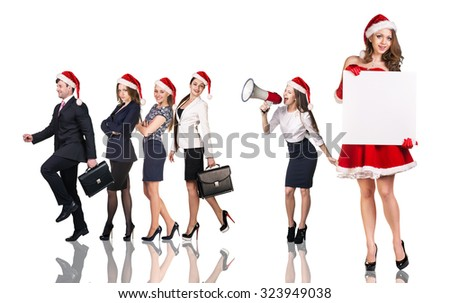 Beautiful and sexy woman wearing santa claus costume with her business team on the white background - stock photo