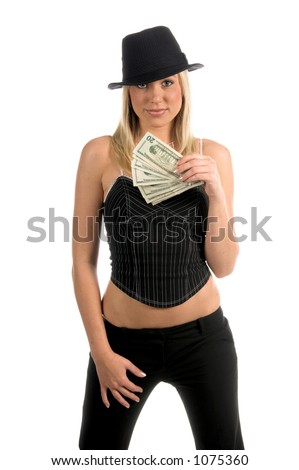 Beautiful and sexy young blonde gangster girl in a pinstripe hat and corsette top with a handful of cash winnings