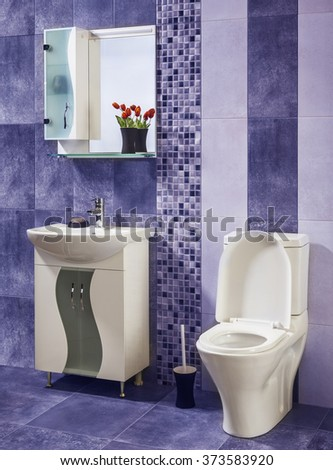 beautiful and stylish bathroom decorated with flowers with blue tiles - stock photo
