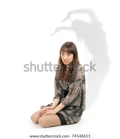 beautiful and unhappy young woman isolated on white - stock photo