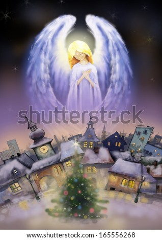 Beautiful angel over a city at snowy Christmas night. - stock photo