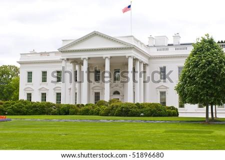 Beautiful angle view of the White House in USA capital Washington, DC - stock photo