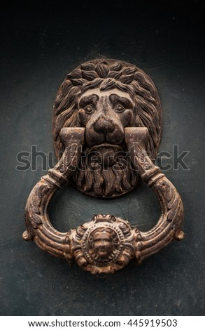 beautiful antique door handle on a big metall wall