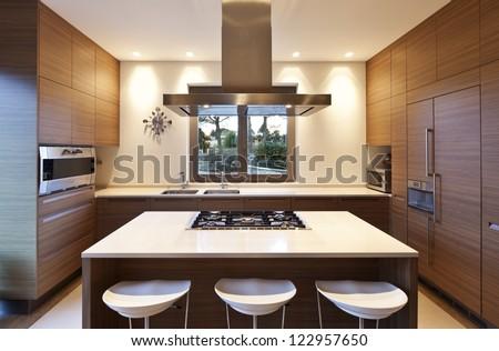 beautiful apartment, interior, kitchen - stock photo