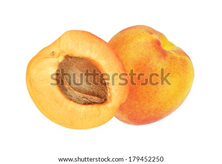 beautiful apricot isolated on white - stock photo