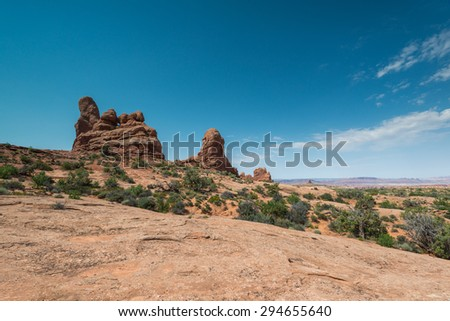 beautiful arch national park in sunny day on summer time,Utah,USA. - stock photo