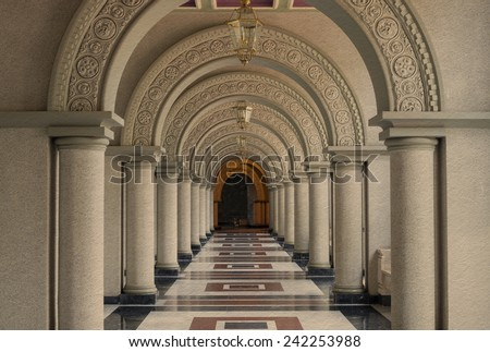 Beautiful Arched walkway on paper background - stock photo