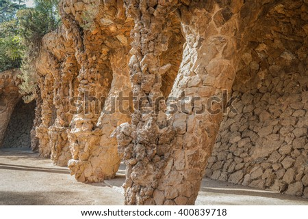 Beautiful arches and columns designed by Antoni Gaudi in Park Guell - Barcelona, Spain.