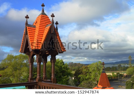 Beautiful architectural detail of historic bath house in Rotorua, New Zealand - stock photo