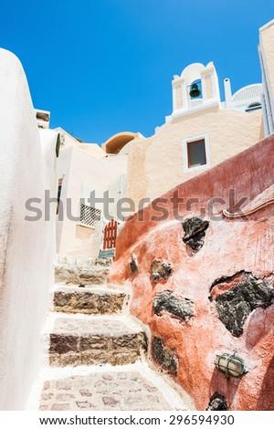Beautiful architecture in Oia town, Santorini island, Greece. - stock photo