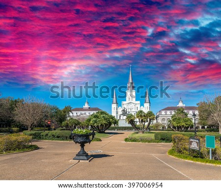 Beautiful architecture of Jackson Square, New Orleans - LA - stock photo