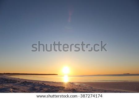 Beautiful Arctic sunset. - stock photo