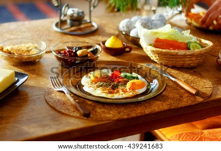 beautiful arrangement of healthy life style vegetarian breakfast on wooden table